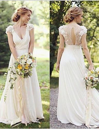 abordables robe mariage civil-Trapèze Col en V Traîne Brosse Dentelle Robes de mariée sur mesure avec Appliques par LAN TING Express