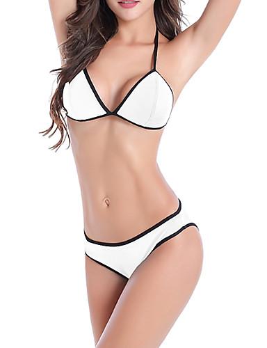 Kadın's Beyaz Doğal Pembe Turuncu Tankini Mayolar - Solid M L XL Beyaz