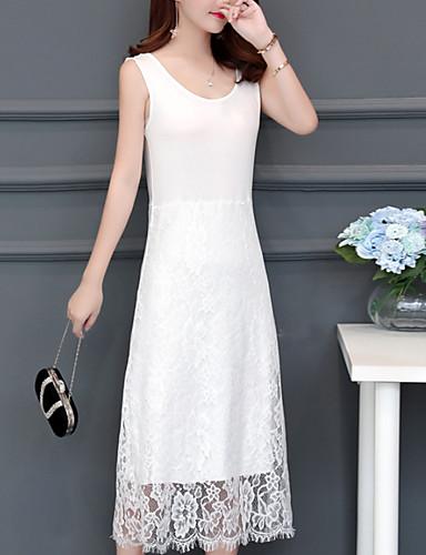 Kadın's Temel Kombinezon Elbise - Solid, Dantel Midi