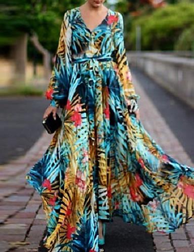 voordelige Maxi-jurken-Dames Boho Elegant Lantern Sleeve Wijd uitlopend Jurk - Bloemen, Veters Print V-hals Maxi