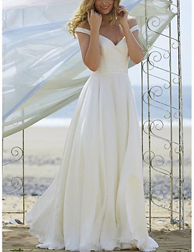 abordables robe mariage civil-Trapèze Epaules Dénudées Longueur Sol Mousseline de soie Robes de mariée sur mesure avec par LAN TING Express