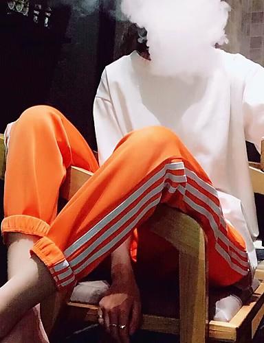 abordables Pantalons Femme-Femme Chic de Rue Joggings Pantalon - Rayé Noir Orange Violet S M L