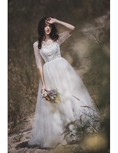 preiswerte Hochzeitskleider 2019-A-Linie Schmuck Pinsel Schleppe Spitze / Tüll Maßgeschneiderte Brautkleider mit Spitze durch LAN TING Express