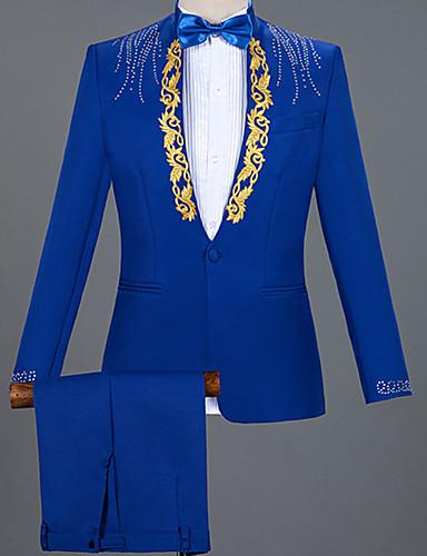 voordelige Herenblazers & kostuums-Heren Pakken, Kleurenblok Puntige revers Nylon Wit / Zwart / Rood