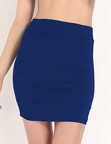 abordables Jupes-Femme Mini Moulante Jupes - Couleur Pleine Fuchsia Vin Bleu Roi S M L / Mince