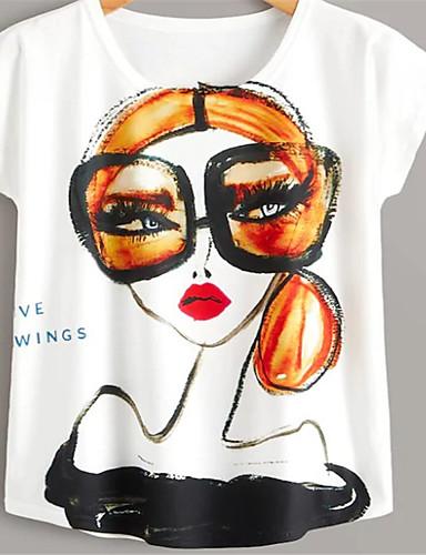abordables Hauts pour Femmes-Tee-shirt Femme, Portrait - Coton Rock / Exagéré Ample Blanche