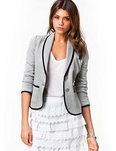 abordables Manteaux & Vestes Femme-Femme Blazer Col châle Polyester Noir / Gris