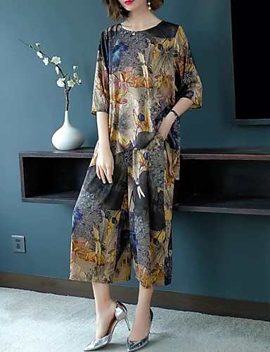 billige Todelt dress til damer-Dame Bohem / Sofistikert Lang Sett Bukse - Trykt mønster, Blomstret / Geometrisk / Regnbue