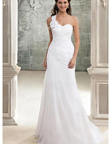 levne Svatební šaty-A-Linie Jedno rameno Dlouhá vlečka Šifón Svatební šaty vyrobené na míru s podle LAN TING Express