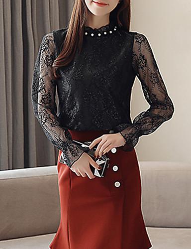 Kadın's Gömlek Dantel / Kırk Yama, Solid Vintage Siyah