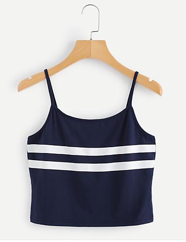 ราคาถูก เสื้อผู้หญิง-สำหรับผู้หญิง เสื้อกล้าม Street Chic / สง่างาม ฝ้าย คล้องไหล่ หมากรุก สีน้ำเงิน