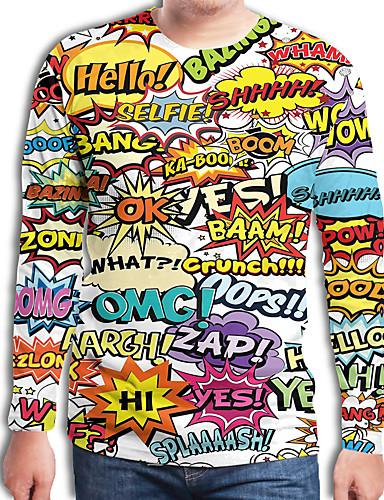 voordelige Heren T-shirts & tanktops-Heren Street chic / overdreven Geplooid / Print Grote maten - Tuniek Kleurenblok / 3D / Regenboog Ronde hals Zwart & Wit Regenboog / Lange mouw