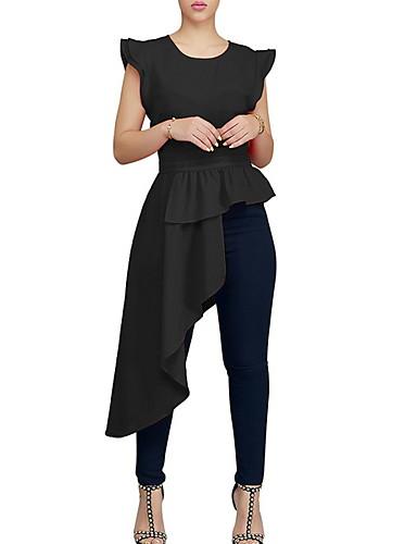 cheap Women's Tops-Women's Daily Wear Basic T-shirt - Solid Colored Black US8 / UK12 / EU40