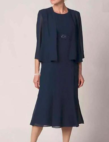 voordelige Wrap Dresses-Strak / kolom Met sieraad Over de knie Chiffon Bruidsmoederjurken met Lagen door LAN TING Express / Wrap inbegrepen