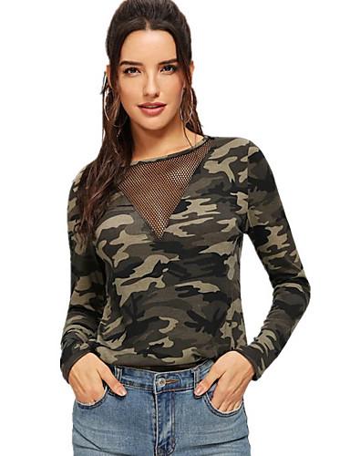 Kadın's Tişört Desen, kamuflaj Temel Ordu Yeşili