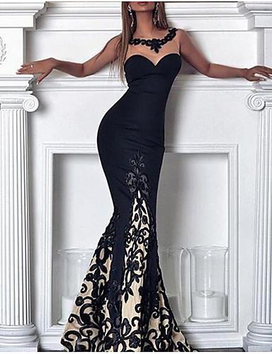 voordelige Maxi-jurken-Dames Boho Elegant Bodycon Jurk - Bloemen, Kant Maxi