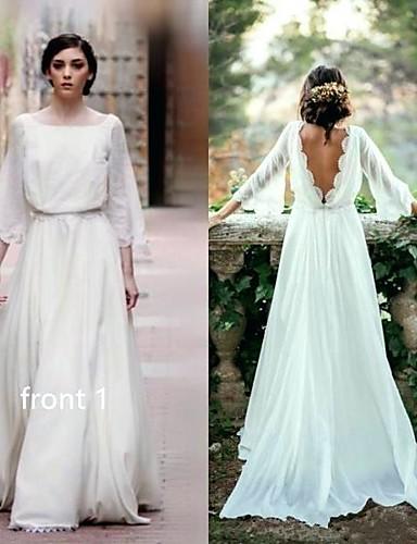 preiswerte Hochzeitskleider-A-Linie Bateau Hals Pinsel Schleppe Chiffon Maßgeschneiderte Brautkleider mit durch LAN TING Express