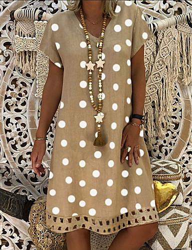 abordables Robes à points Polka-Femme Mi-long Courte Robe Points Polka Gris Jaune Kaki XL XXL XXXL Manches Courtes