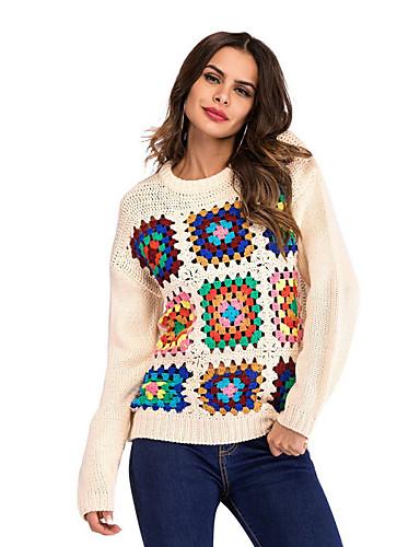 billige Dametopper-Dame Geometrisk Langermet Pullover, Rund hals Svart / Beige S / M / L