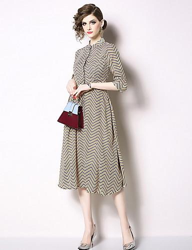 Kadın's A Şekilli Elbise - Çizgili Diz-boyu