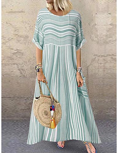 povoljno Ženska odjeća-Žene Elegantno Shift Haljina - Print, Prugasti uzorak Maxi
