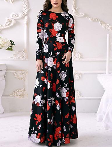 Mulheres Floral Evasê Vestido Floral Longo