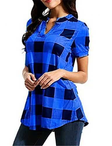 billige Topper til damer-T-skjorte Dame - Ruter BLå & Hvit / Svart & Rød Svart