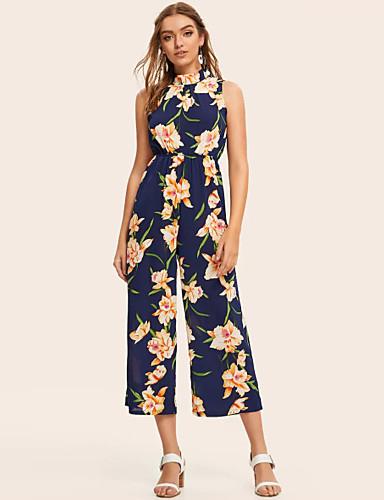 abordables Hauts pour Femmes-Femme Basique Bleu Combinaison-pantalon, Géométrique Mosaïque S M L