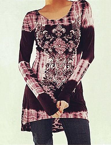 billige Dametopper-Løstsittende T-skjorte Dame - Geometrisk, Lapper / Trykt mønster Bohem Svart & Rød / Rose Blå
