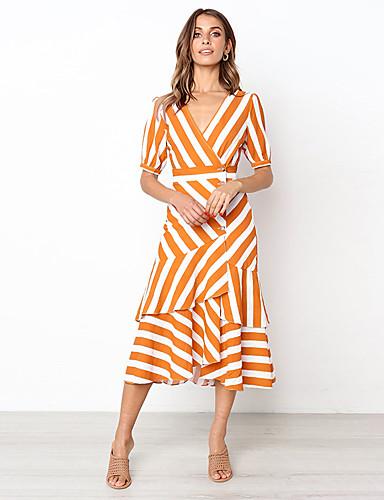 billige Kjoler-Dame Gatemote A-linje Kjole - Stripet, Lapper Trykt mønster Midi
