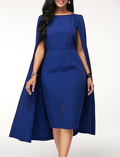 abordables Robes Femme-Femme Basique Mi-long Gaine Robe Couleur Pleine Bleu Vert Violet XXXL XXXXL XXXXXL Sans Manches