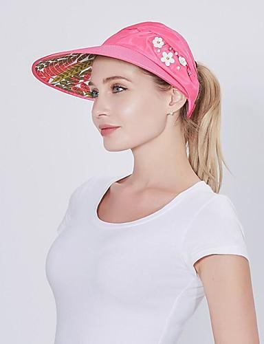 billige Tilbehør til damer-Dame søt stil Solhatt Ensfarget Blomstermønster Bomull Lin Lær Sommer Beige Navyblå Fuksia