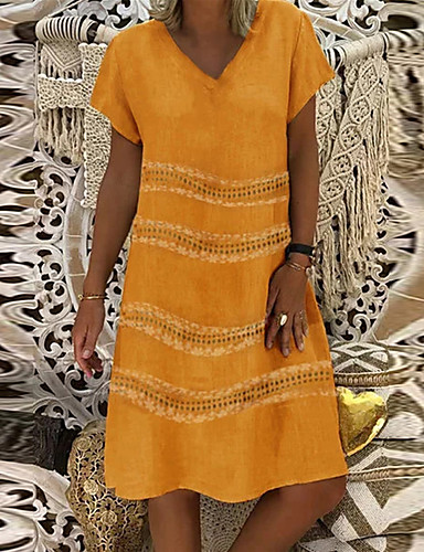 Kadın's Vintage Temel Kombinezon Elbise - Solid Diz-boyu