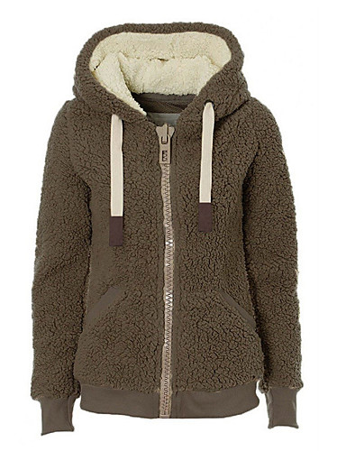 Kadın's Günlük Kapüşonlu Giyecek / hoodie Ceket - Solid