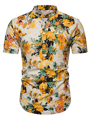voordelige Herenoverhemden-Heren Vintage / Boho Print Overhemd Linnen, Club Bloemen / Geometrisch / Grafisch Opstaande boord Beige / Korte mouw