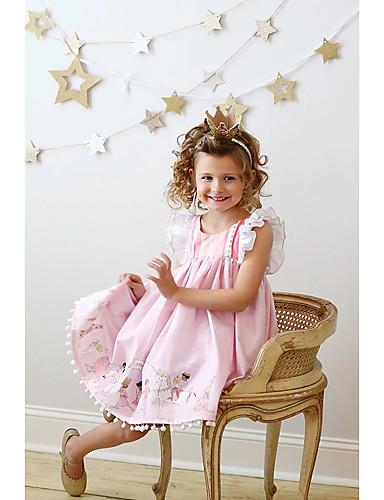 Djeca Djevojčice Aktivan Geometrijski oblici Print Bez rukávů Do koljena Haljina Blushing Pink / Pamuk