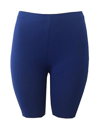 billige Tights til damer-Dame Sporty Tynn Shorts Bukser - Ensfarget Svart / Hvit, Lapper Høy Midje Bomull Svart Vin Hvit S M L