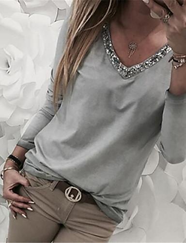 povoljno Ženske majice-Veći konfekcijski brojevi Majica s rukavima Žene - Osnovni Kauzalni / Plus veličine Jednobojni V izrez Šljokice Red
