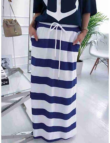 billige Skjørt-Dame Gatemote Maksi Rett Skjørt Stripet BLå & Hvit Hvit M L XL