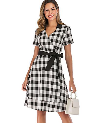 Kadın's Temel A Şekilli Elbise - Kareli Diz-boyu