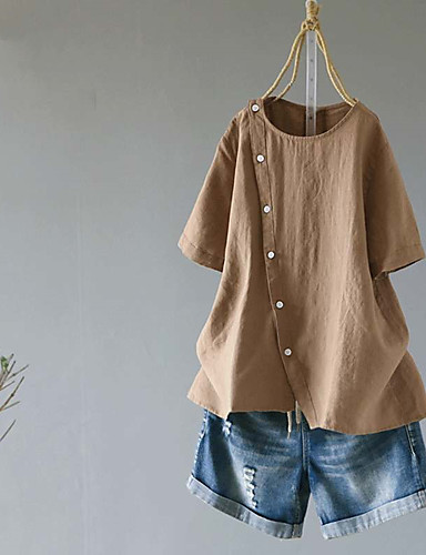 billige Topper til damer-Bomull Løstsittende Skjorte Dame - Ensfarget, Nagle / Lapper Vintage Hvit