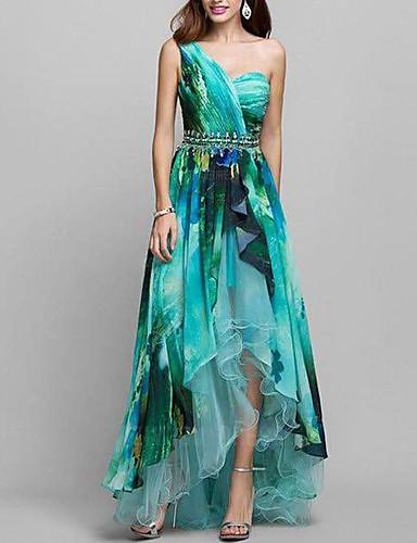 abordables Vestidos de Mujer-Mujer Elegante Corte Swing Vestido - Estampado, Geométrico Asimétrico Un Hombro