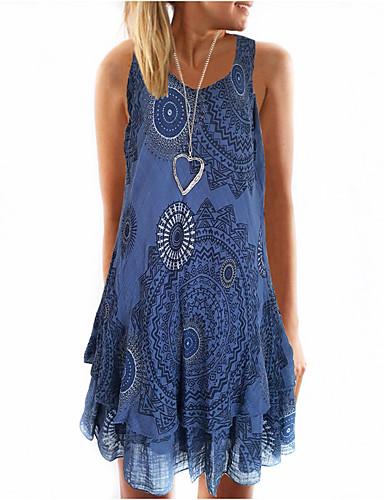 abordables Robes Femme-Femme Bohème Mini Patineuse Robe - Imprimé, Fleur Fuchsia Bleu clair Kaki XXXL XXXXL XXXXXL Sans Manches