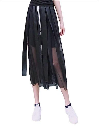 Kadın's Temel Salıncak Etekler - Solid Büzgülü Siyah M L XL