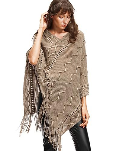 Kadın's Solid Kolsuz Pelerin / Capes, Yakasız Sonbahar / Kış Siyah / Haki M / L