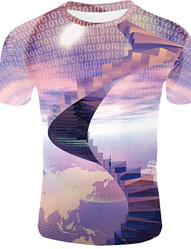 voordelige Heren T-shirts & tanktops-Heren Standaard Print EU / VS maat - T-shirt 3D Ronde hals Regenboog / Korte mouw