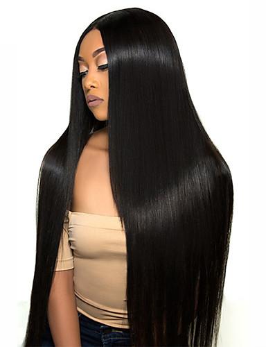 cheap Human Hair Wigs-Human Hair Lace Front Wig Free Part style Brazilian Hair Straight Black Wig 130% 150% Density Women Women's Long Human Hair Lace Wig Clytie