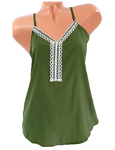 abordables Hauts pour Femme-Tee-shirt Femme, Couleur Pleine Bretelles Croisées Basique Col en V Ample Violet