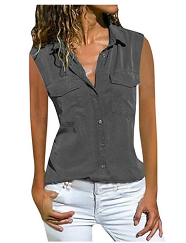 povoljno Majica-Majica Žene Dnevni Nosite Jednobojni Kragna košulje Dusty Rose Crn