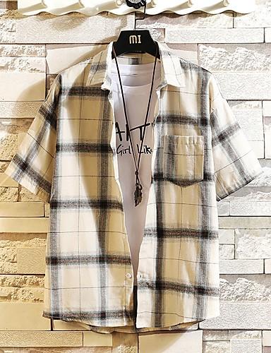 voordelige Herenoverhemden-Heren Print Grote maten - Overhemd Ruitjes Zwart / Korte mouw